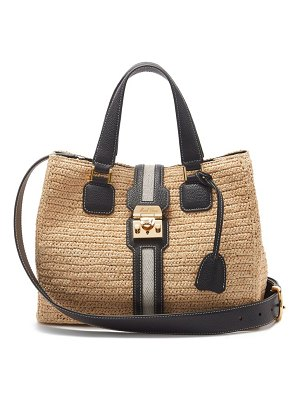 Mark Cross riviera leather & gold-plated raffia tote bag
