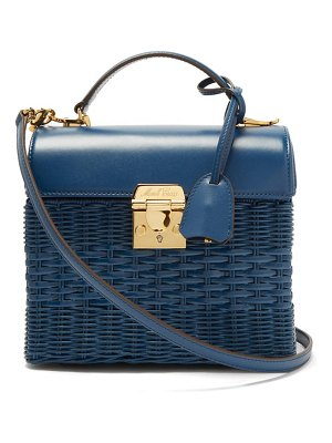 Mark Cross sara rattan and leather shoulder bag