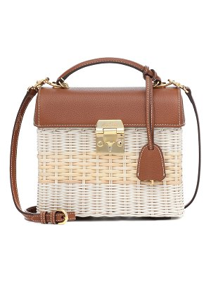 Mark Cross sara small leather and rattan tote