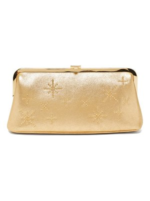 Mark Cross susanna crystal-embellished leather clutch