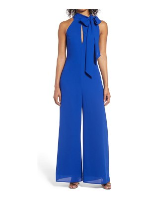 Mark + James by Badgley Mischka side tie neck jumpsuit with keyhole