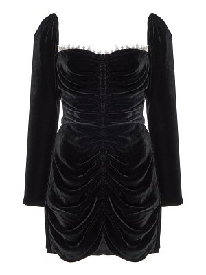 Markarian crawford crystal-embellished ruched velvet mini dress