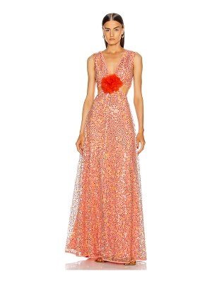 Markarian iridescent sequin cut out gown