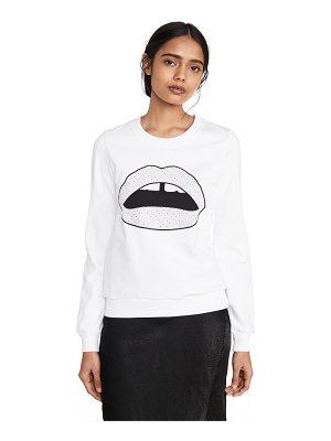 Markus Lupfer leonie broderie anglaise iconic lip sweatshirt