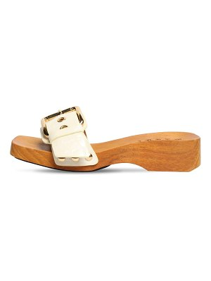 Marni 40mm croco embossed patent leather clogs