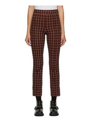 Marni black and red check cropped trousers