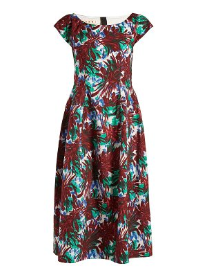 Marni Boat-neck leaf-print midi dress
