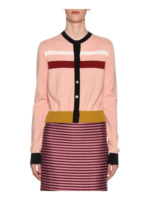 Marni Button-Front Striped Wool Cardigan