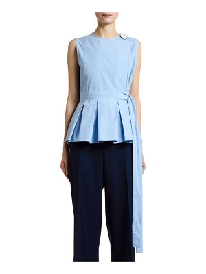 Marni Button-Shoulder Pleated Peplum Top