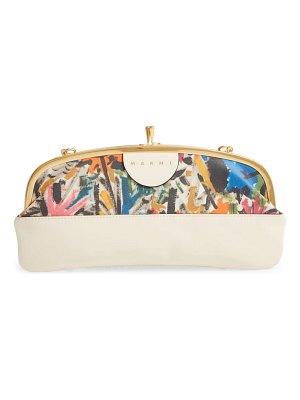 Marni canvas & leather frame clutch