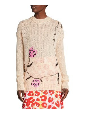Marni Embroidered Floral Merino Wool-Blend Knit Sweater