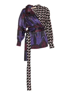 Marni future printed satin wrap top