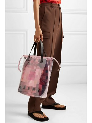 Marni glossy leather-trimmed pvc tote