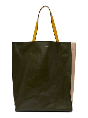Marni green and pink musseo tote