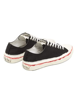 Marni hand-painted logo canvas trainers