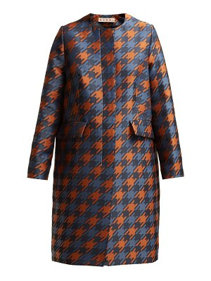 Marni Houndstooth Print Silk Lined Coat