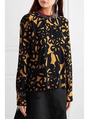 Marni jersey-trimmed printed crepe top