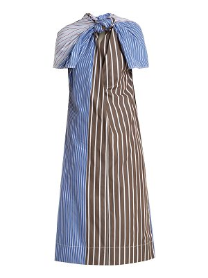 Marni Knot-front striped cotton-poplin dress