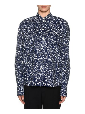 Marni Long-Sleeve Button-Front Lily Print Silk Blouse