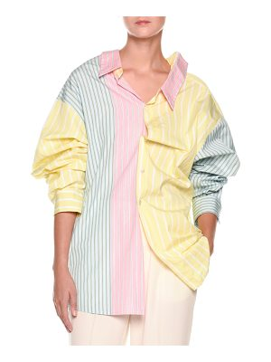 Marni Long-Sleeve Pastel Panel Striped Oversized Cotton Blouse