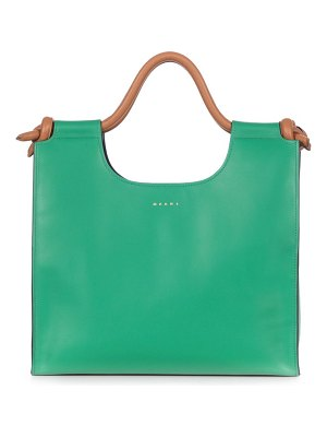 Marni marcel knotted-handle leather tote bag