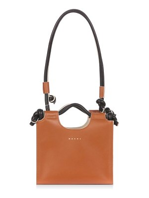 Marni marcel small knotted-handle leather tote bag
