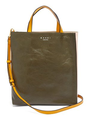 Marni museo small crackled-leather tote bag