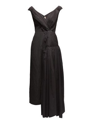 Marni pleated off-shoulder cotton-crepe dress