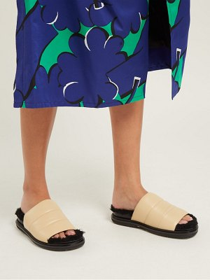 Marni Quilted Leather Shearling Lined Slides