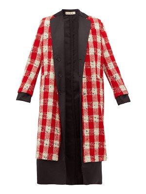 Marni checked wool blend bouclé coat
