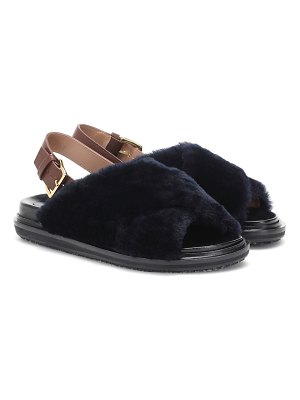 Marni shearling-trimmed leather sandals