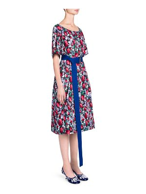 Marni short sleeve floral belted dress
