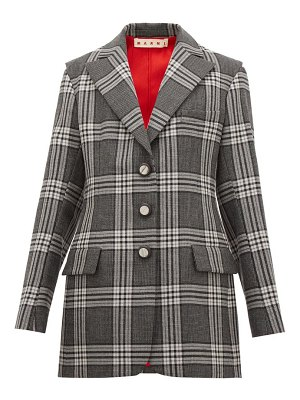 Marni single breasted satin insert checked wool blazer
