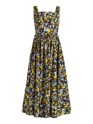 Marni Square-neck tulip-print dress