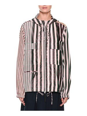 Marni Striped Check-Print Zip-Front Hooded Taffeta Jacket