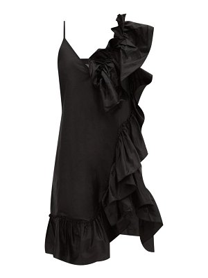 Marques Almeida asymmetric ruffled silk-tafetta dress