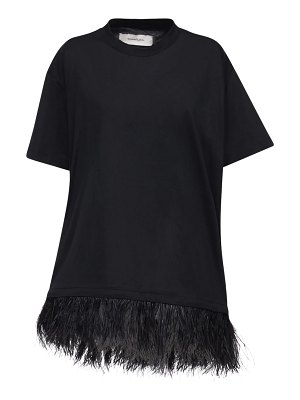 Marques Almeida Cotton jersey t-shirt dress w/feathers