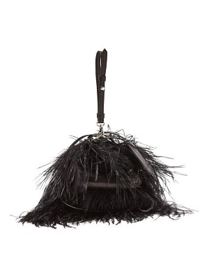 Marques Almeida feather embellished leather cross body bag