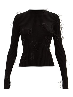 Marques Almeida feather-embellished ribbed-knit sweater