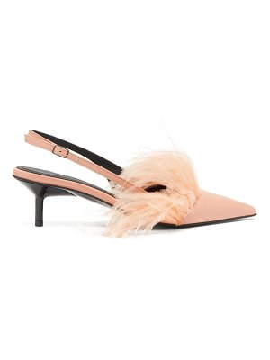 Marques Almeida feather trim leather slingback pumps