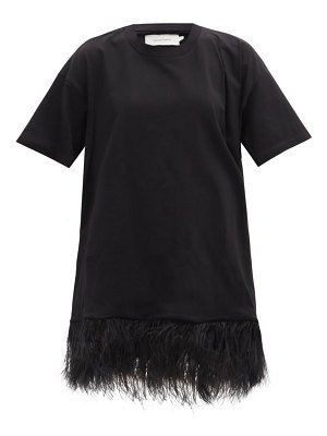 Marques Almeida feather-trimmed cotton-jersey t-shirt dress