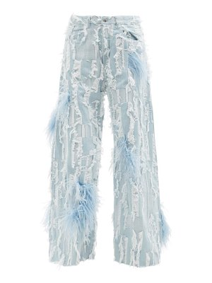 Marques Almeida feather-trimmed distressed wide-leg jeans