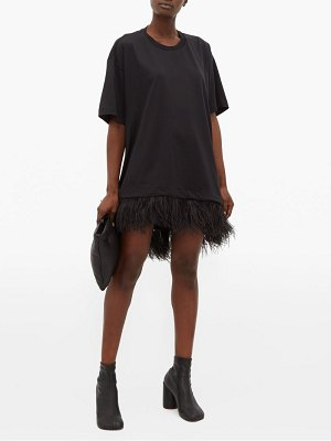 Marques Almeida feathered cotton-jersey t-shirt dress