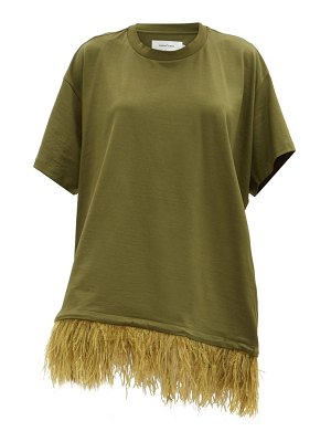 Marques Almeida feathered-hem cotton t-shirt dress
