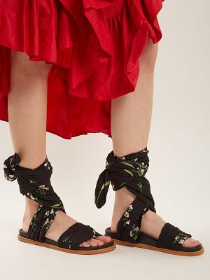 Marques Almeida floral-embroidered wrap sandals