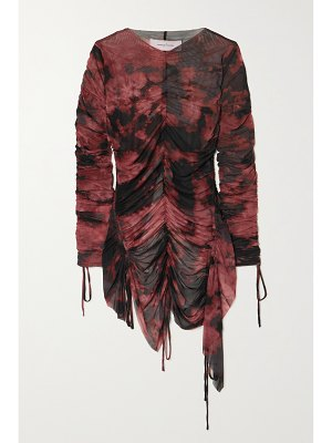 Marques' Almeida + net sustain gathered tie-dyed recycled stretch-mesh top
