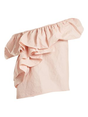 Marques Almeida Marques'almeida - One Shoulder Ruffled Cotton Blend Top