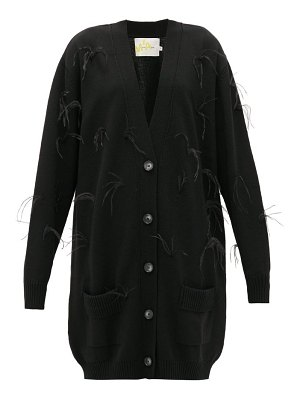Marques Almeida oversized feather-trimmed wool cardigan
