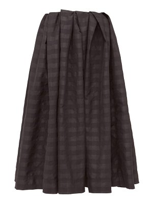 Marques Almeida pleated checked taffeta midi skirt