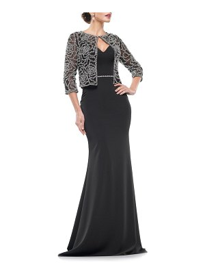 MARSONI stretch faille trumpet gown with jacket